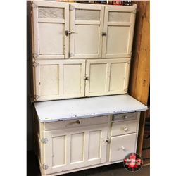 "Painted White ""Hoosier Style"" Kitchen Cupboard w/Enamel Pull Out Work Surface"