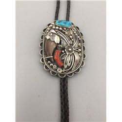 D. Clark Turquoise and Bear Claw Bolo
