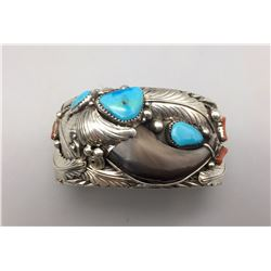 Multi-stone and Bear Claw Sterling Silver Bracelet