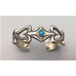 """Turquoise and Sterling """"Heart"""" Bracelet"""