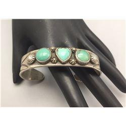 Heavy, 3 Stone Turquoise Bracelet