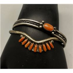 2 Bracelets, Coral and Sterling Silver
