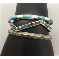 3 Sterling Silver and Turquoise Bracelets
