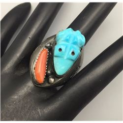 Vintage Carved Turquoise Ring
