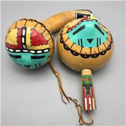 Pair of Sunface Gourd Rattles