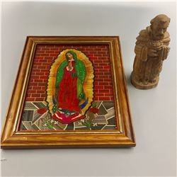 Spanish Santo Carving and Quill Art
