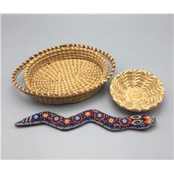Huichol Beaded Snake and Baskets