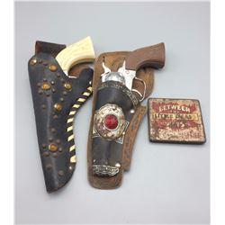 Pair of Vintage Cap Guns and Cigar Tin