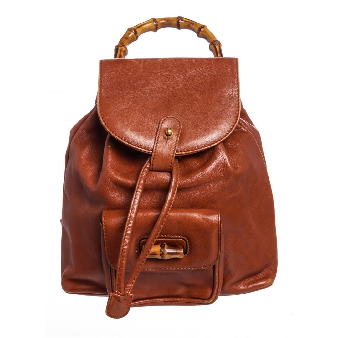 0d07bfc16477 Image 1 : Gucci Vintage Brown Leather Mini Bamboo Backpack ...