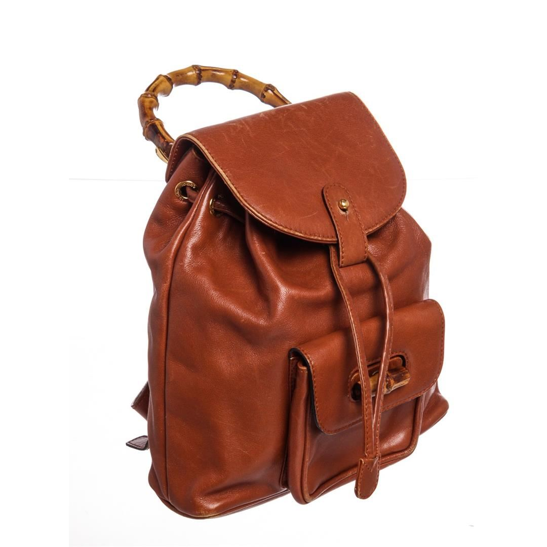 61fc61703419 ... Image 2 : Gucci Vintage Brown Leather Mini Bamboo Backpack ...
