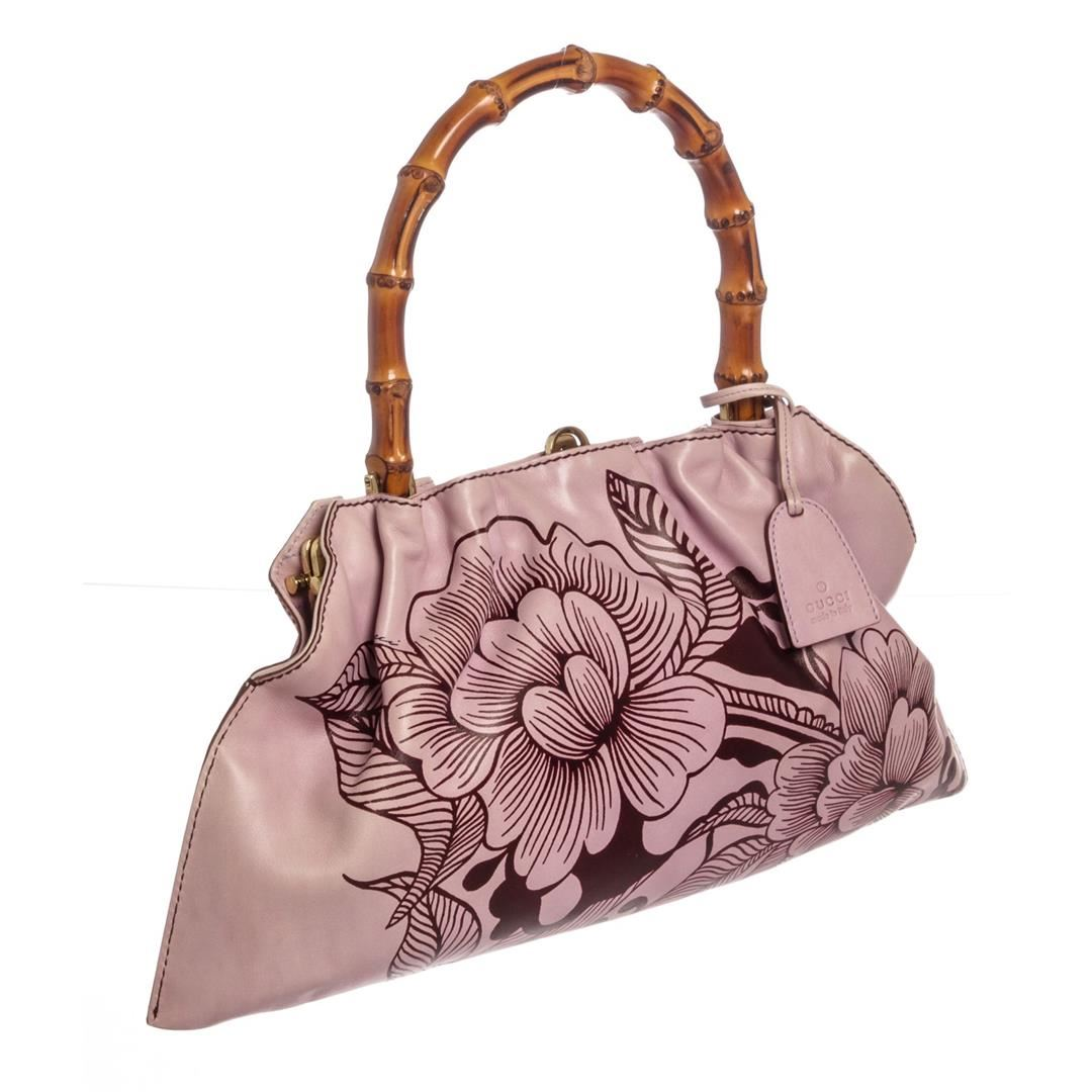 3285d74e42a8 Gucci Pink Brown Leather Floral Bamboo Tote Bag