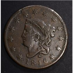 1816 LARGE CENT, VF/XF