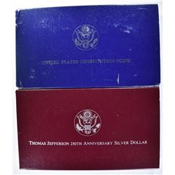 2-PROOF COMMEM SILVER DOLLARS: