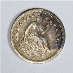 1843 SEATED HALF DIME, XF stained
