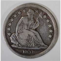 1838 SEATED DIME, F/VF