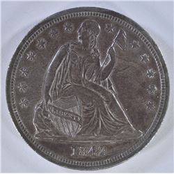 1842 SEATED LIBERTY SILVER DOLLAR  ORIGINAL UNC