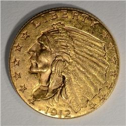 1912 $2 1/2 GOLD INDIAN HEAD  CH BU