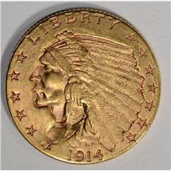1914-D $2 1/2 GOLD INDIAN HEAD  CH BU