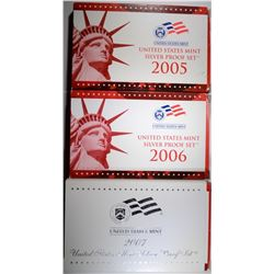 3 Silver Proof Sets 2005-2007
