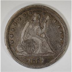 1857 SEATED QUARTER, VF