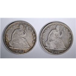 1875 & 1876 SEATED HALF DOLLARS, VG/FINE