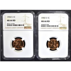1954-S & 55-S LINCOLN CENTS NGC MS-66 RD