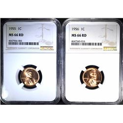 1955 & 56 LINCOLN CENTS NGC MS-66 RD BETTER DATES