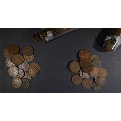 1902 & 1903 CIRC INDIAN CENT ROLLS 100 COINS TOTAL