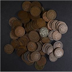 100 MIXED DATE CIRC INDIAN CENTS ALL IN THE 1900.S