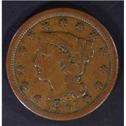 1847 LARGE CENT, VF+