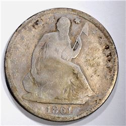 1861-O SEATED HALF DOLLAR, G/VG BETTER DATE