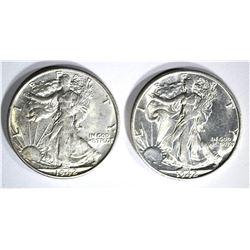 2 - 1942-S WALKING LIBERTY HALF DOLLARS