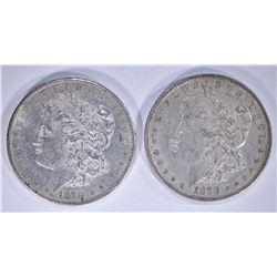 1878-S AU/UNC  & 1878 REV 79 AU MORGAN DOLLARS
