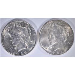 2 - 1922  PEACE DOLLARS - CHOICE BU
