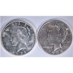 1922-D & 1934 AU/UNC PEACE DOLLARS