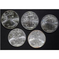 5-BU AMERICAN SILVER EAGLE ONE OUNCE COINS
