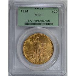 1924 $20 ST. GAUDENS GOLD PCGS MS63