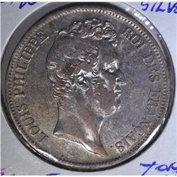 1831 W SILVER 5FRANCS FRANCE  AU