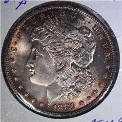 1881 MORGAN DOLLAR GEM BU RED