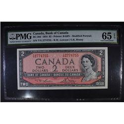 1954 $2 BANK OF CANADA PMG 65EPQ