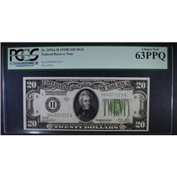 1928B $20 FEDERAL RESERVE NOTE PCGS 63PPQ