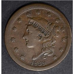 1839 LARGE CENT CHOICE VERY FINE