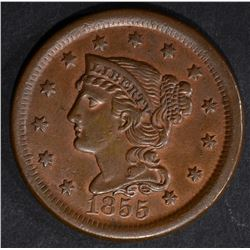 1855 LARGE CENT AU+ CLEANED