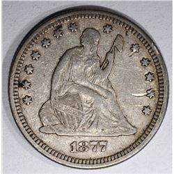 1877 SEATED QUARTER XF SCRATCH OBV