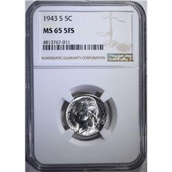 1943-S JEFFERSON NICKEL NGC MS-65 FS