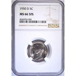 1950-D JEFFERSON NICKEL NGC MS66 5FS