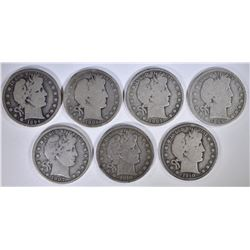 7 - BARBER HALVES; 4-GOOD or BETTER w/SCRATCHES