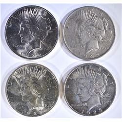4 - PEACE DOLLARS; 2 - 1922, 2- 1923