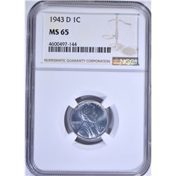 1943-D LINCOLN CENT NGC MS65