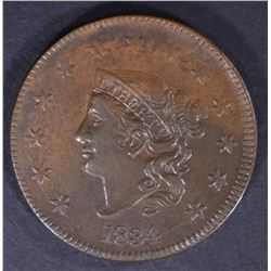 1834 LARGE CENT, XF/AU